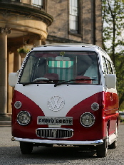 Betsy our cute and crazy camper van photo booth for hire.